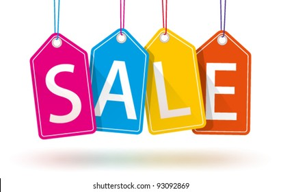 Vector Colorful Hanging Sales Tags.  Isolated with optional transparent ground shadows.