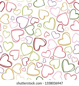 Vector colorful heart outlines repeat pattern. Suitable for gift wrap, textile and wallpaper. Wonderful design for valentines day.