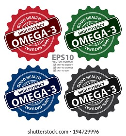 Vector : Colorful High Potency Omega-3, Good Health, 100 Percent Natural Icon, Label, Sticker, Stamp or Badge Isolated on White Background