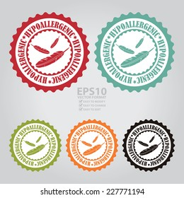 Vector : Colorful Hypoallergenic Stamp, Badge, Icon, Label or Sticker
