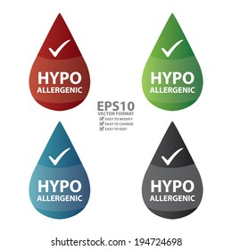 Vector : Colorful Hypoallergenic Water Drop Icon or Label Isolated on White Background
