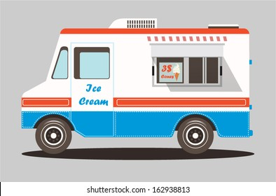 Vector colorful ice cream truck