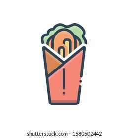 Vector colorful icon for shawarma