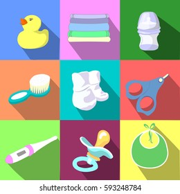 vector colorful  icons of baby items.Things for baby.Newborn concept. children equipment.Kids stuff. Flat design with shadows.