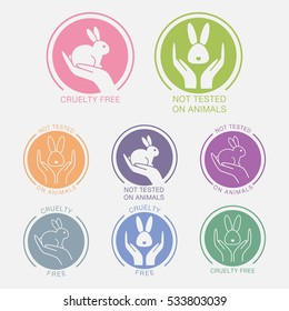 "Vector colorful icons set with hand and bunny. Signs ""Not Tested on Animals"" ""Cruelty Free"""