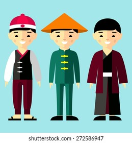 Vector colorful illustration of asian boys in national clothes Set of  chinese, japanese, asian boys dressed in national costumes