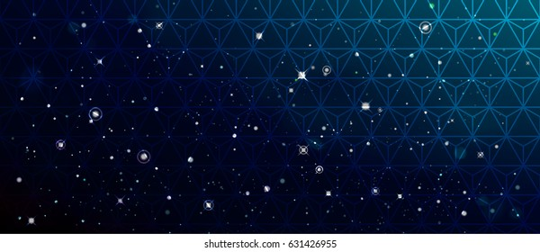 Vector colorful Illustration. Astrology horizontal cyan background. Outer space blue backdrop. Universe. Turquoise galaxy. Fog. Dark blurred fond. Stars. Black cosmos. Necker cube pattern. Polygonal