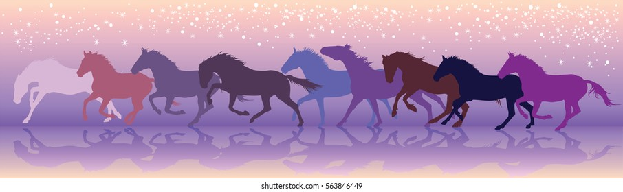 Vector colorful  illustration background with horses run at a gallop