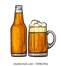 Vector colorful illustration of beer mug and glass bottle filled with beer. Beer bottle and glass of beer, isolated on white background 1.1