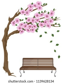 Vector colorful illustration of bench under the tree with pink flower and fall ing leaf
