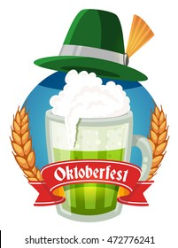 Vector colorful illustration of big mug of green beer with hat, yellow ears wheat, red ribbon and text on white background. Oktoberfest festival and greeting. Realistic design for web, site, poster