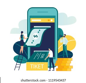Vector colorful illustration, buying tickets online with the help of internet banking, mobile application, payment and receipt of a ticket