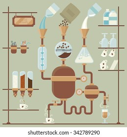 vector colorful illustration of coffee brewing process