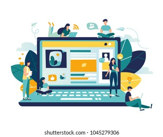 Vector colorful illustration of communication via the Internet, social networking,chat, video,news,messages,web site, search friends, mobile web graphics