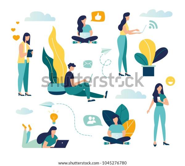 Vektorbunter Illustration der Kommunikation über das Internet, soziale Netzwerke, Chat, Video, Nachrichten, Nachrichten, Website, Suchfreunde, mobile Web-Grafiken