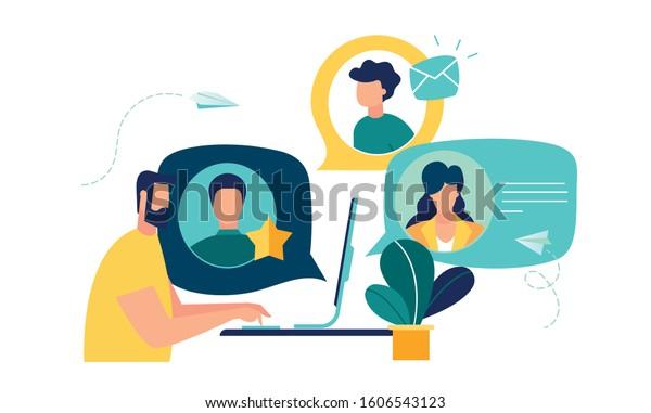 Vektorillustration bunter Illustration der Kommunikation über das Internet, soziale Netzwerke, Chat, Video, Nachrichten, Nachrichten, Website, Suchfreunde, mobile Web-Grafiken