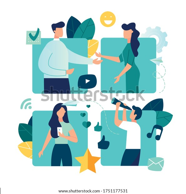 Vector colorful illustration of communication via the Internet, social networking,chat,  vector, video,news,messages,web site, search friends, mobile web graphics