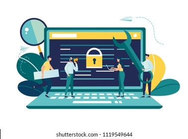 Vector colorful illustration, the concept of protecting computer data for a web page, coding, programming, application development, expose