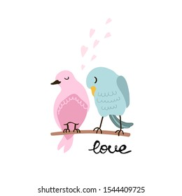 Vector colorful illustration of cute couple of birds in love. Can be used for childish t-shirt print, textile print, cloth, baby wear, kids room decoration, invitation, greeting card, and posters