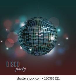 Vector colorful illustration of disco ball