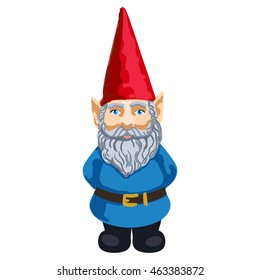 Vector colorful illustration of garden gnome isolated on white background.