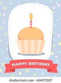 Vector colorful illustration. Happy birthday template poster with cake with one candle, red ribbon, text on blue background. Congratulation message. Flat style hand drawn design for greeting card