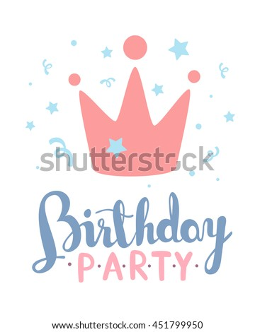 Vector colorful illustration happy birthday template stock vector vector colorful illustration happy birthday template poster with pink crown text on white background maxwellsz