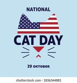 Vector colorful illustration in honor of the national day of cats in the USA. Logo, poster, icon, banner, greeting card, postcard, print for cat lovers