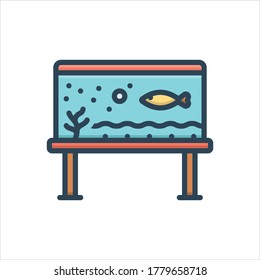 Vector colorful illustration icon for fish in aqarium