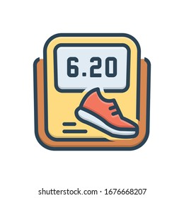 Vector colorful illustration icon for pedometer
