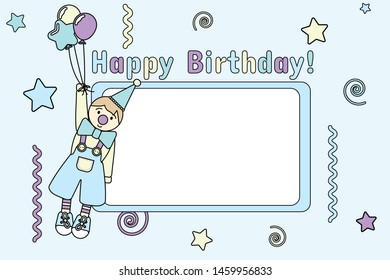 Vector colorful illustration with the inscription happy birthday and the image of a clown in a cap and on balloons, around which are drawn stars, confetti, ribbons and a place for the inscription