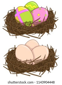 Vector colorful illustration of nest with egg and easter eggs