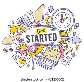 Vector colorful illustration of office objects with text on white background. Get started concept. Thin line art flat design of laptop, clock, phone, documents for start up, management, business theme