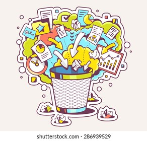 Vector colorful illustration of office trash can and documents on light background. Hand draw line art design for web, site, advertising, banner, poster, board and print.