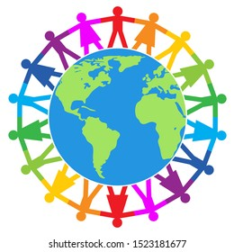 vector colorful illustration of people around the world, peace, friendship or travel concept. earth globe surrounded by a chain of people. world diversity logo isolated on white background