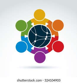 Vector colorful illustration of people standing around network sign, management team. Global business conceptual icon. Connection idea.