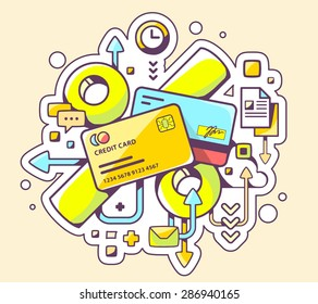Vector colorful illustration of percentages on  credit cards on yellow background. Hand draw line art design for web, site, advertising, banner, poster, board and print.