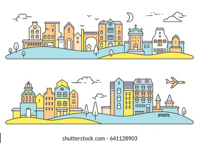 Vector colorful illustration of two detailed city landscape. Set of urban european city with tree, cloud, air plane on white background with hill. Thin line art design for web, site, horizontal banner