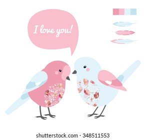 Vector colorful illustration with two love bird and feather in light pink palette