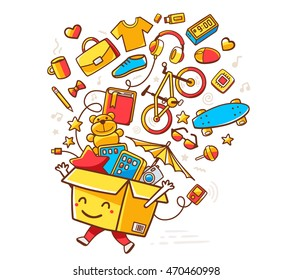 Vector colorful illustration of yellow smile character shopping box with lot of purchases on white background. Doodle style. Thin line art flat design of shopping box character with hands, legs