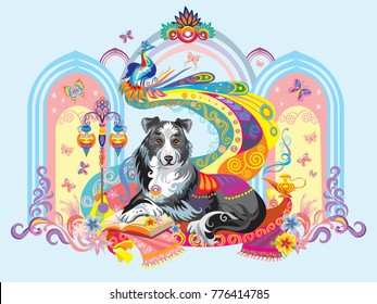 Vector colorful image with dog (border collie) isolated on blue background, the symbol of New year 2018