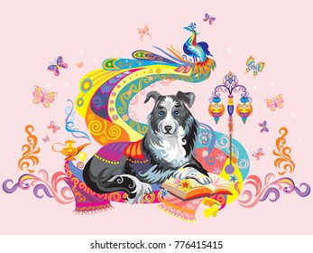 Vector colorful image with dog (border collie) isolated on pink background, the symbol of New year 2018