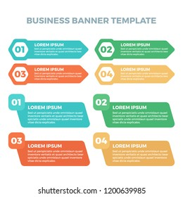 Vector colorful infographic banner steps for your business presentations. Can be used for website layout, numbered banners, diagram, horizontal cutout lines, web design.