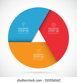 Vector colorful infographic circle template in material  style. Can be used for graph, cycling diagram, round chart, number options, web design. 3 steps business concept