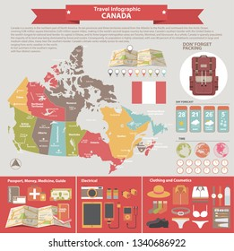 Vector colorful infographics about traveling with Map of provinces and territories of Canada.