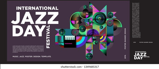 Vector colorful international jazz day poster and banner