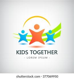 Vector colorful kids logo, children logo, friendship icon, identity