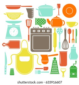 Vector colorful kitchen icons set. Flat style cooking elements.