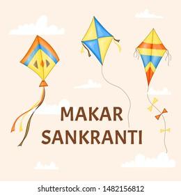 Vector colorful kites for Happy Makar Sankranti festival celebration