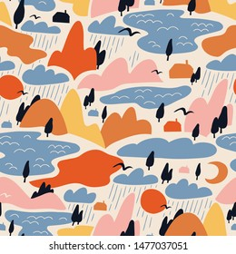 Vector Colorful landscape with mountains and lakes. Cute abstract seamless pattern design for fabric. Perfect seamless print  for home decor.